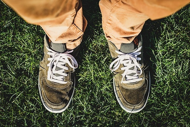 Shoes in grass