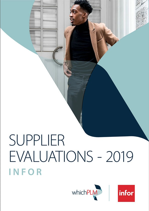 The front cover of WhichPLM's evaluation of Infor Cloudsuite PLM for Fashion